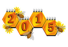 Happy 2015. Colorful background with small bees flying near honeycomb shaped calendar sheets. Happy New Year and a great 2015 Stock Illustration