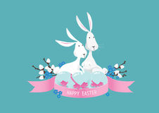 Happy colorful easter bunnies composition vector Royalty Free Stock Photography