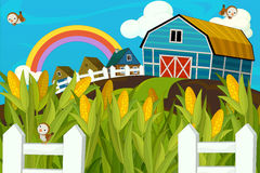 Happy and colorful farm scene Royalty Free Stock Images