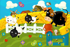 Happy and colorful farm scene Royalty Free Stock Photo