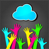 Happy colorful hands with blue cloud Royalty Free Stock Photography