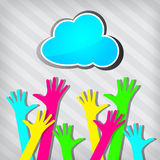 Happy colorful hands with blue cloud Stock Photos