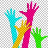 Happy colorful hands on chequered background. Happy colorful hands on the chequered background vector illustration