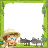 The nature frame - wood - illustration for the children Royalty Free Stock Photo