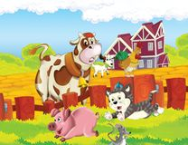 The life on the farm - illustration for the children Royalty Free Stock Images