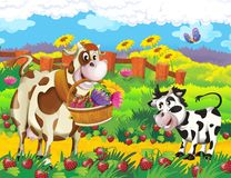 The life on the farm - illustration for the children Stock Photos
