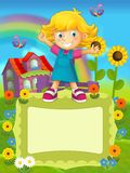 On the farm - the happy illustration for the children Royalty Free Stock Photo