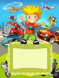 The vehicles - the label with kid - illustration for the children Royalty Free Stock Photography