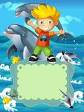 The sea - the label with kid - illustration for the children. The happy and colorful illustration for the children Stock Images