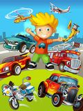 The vehicles - the label with kid - illustration for the children Stock Images