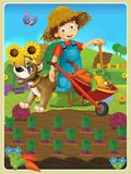 On the farm - the happy illustration for the children Stock Images