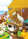 The life on the farm - illustration for the children stock illustration