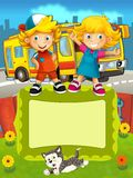 The group of happy preschool kids - colorful illustration for the children Royalty Free Stock Photos