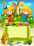 The group of happy preschool kids - colorful illustration for the children Stock Photography
