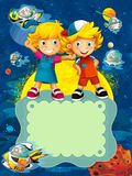 The group of happy preschool kids - colorful illustration for the children Stock Images