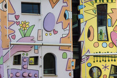 Happy colorful modern house. Rizzi house in Braunschweig, Germany, happiest house with colorful cartoon shapes and artistic architecture Stock Images