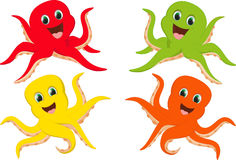 Happy colorful octopus cartoon Stock Photos
