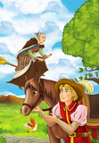 Happy and colorful traditional scene with medieval horseman and flying witch. Happy and colortrful traditional illustration for children Royalty Free Stock Images