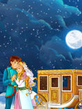 Happy and colorful traditional scene of royal married couple near the carriage Royalty Free Stock Photo