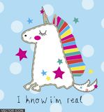 Happy Colorful Unicorn Vector. Happy Colorful Unicorn, funny quote, on spotted background vector design, hand drawn style vector illustration