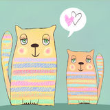 Happy colorful valentines cats. Cute couple of cats. Valentines card. Love background. I love you. Meeting invitation. Stock Image