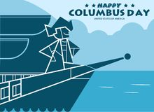 Happy Columbus Day Design Concept Vector Flat Design. Happy Columbus Day Greetings or Banner or Postcard Vector Image royalty free illustration