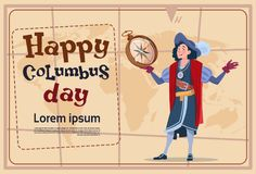 Happy Columbus Day America Discover Holiday Poster Greeting Card Stock Image
