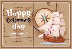 Happy Columbus Day America Discover Holiday Poster Greeting Card Royalty Free Stock Photo