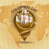 Happy Columbus Day America Discover Holiday Poster Greeting Card Retro World Map. Flat Vector Illustration stock illustration