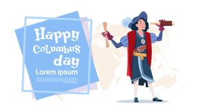Happy Columbus Day American Discovery Holiday Poster Greeting Card. Flat Vector Illustration Royalty Free Stock Photo
