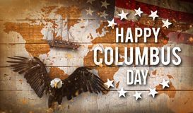 Happy Columbus day banner, patriotic background Royalty Free Stock Image