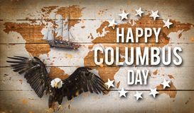 Happy Columbus day banner, patriotic background Stock Image