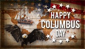 Happy Columbus day banner, patriotic background. Happy Columbus day banner, american patriotic background royalty free stock photo