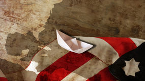 Happy Columbus Day. Boat. Happy Columbus Day. Usa Flag Wood and Paper Boat Stock Photo
