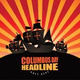 Happy Columbus Day Burst Background. EPS 10 vector royalty free stock illustration for ad, promotion, poster, flier, blog, article, social media, marketing stock illustration