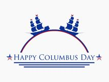Happy Columbus Day, the discoverer of America. holiday banner. Sailing ship with masts. Vector Stock Photos