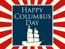 Happy Columbus Day, the discoverer of America. Holiday card with rays and ship. Sailing ship with masts. Vector Stock Image