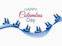 Happy Columbus Day, the discoverer of America, waves and ship, holiday banner. Sailing ship with masts. Vector Stock Image