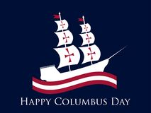 Happy Columbus Day, the discoverer of America, waves and ship, holiday banner. Sailing ship with masts. Vector Royalty Free Stock Images