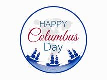 Happy Columbus Day, the discoverer of America, waves and ship, holiday banner. Sailing ship with masts. Vector Stock Images
