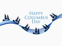 Happy Columbus Day, the discoverer of America, waves and ship, holiday banner. Sailing ship with masts. Vector Stock Photography