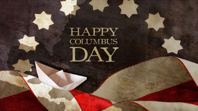 Happy Columbus Day. Flag and Waves . Happy Columbus Day. Flag Waves and Paper Boat Stock Images