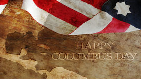 Happy Columbus Day. Flag and Wood. Happy Columbus Day Royalty Free Stock Photography