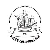 Happy Columbus day greeting card. Vector illustration. Happy Columbus day greeting card. Vector illustration with sailing ship black line isolated on white Stock Image
