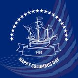 Happy Columbus day greeting card. Vector illustration. Happy Columbus day greeting card. Vector illustration with sailing ship on flag background. Christopher Stock Photography