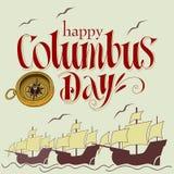 Happy columbus day. Handmade vector illustration Stock Image