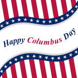 Happy Columbus Day lettering with national USA flag. Royalty Free Stock Images