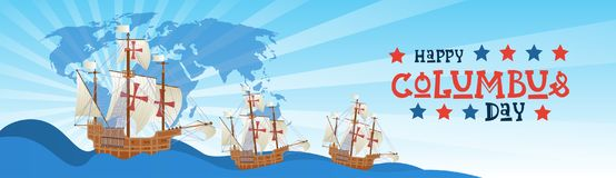 Happy Columbus Day National Usa Holiday Greeting Card With Ship In Ocean Stock Photo