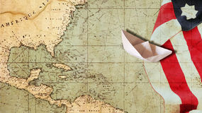 Happy Columbus Day. Paper Boat. Happy Columbus Day. Usa Flag Nautical Chart and Paper Boat Stock Photography