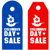 Happy Columbus Day promotion sale red blue Stock Image